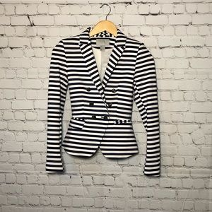 H&M Black & White Striped Double Breasted Blazer